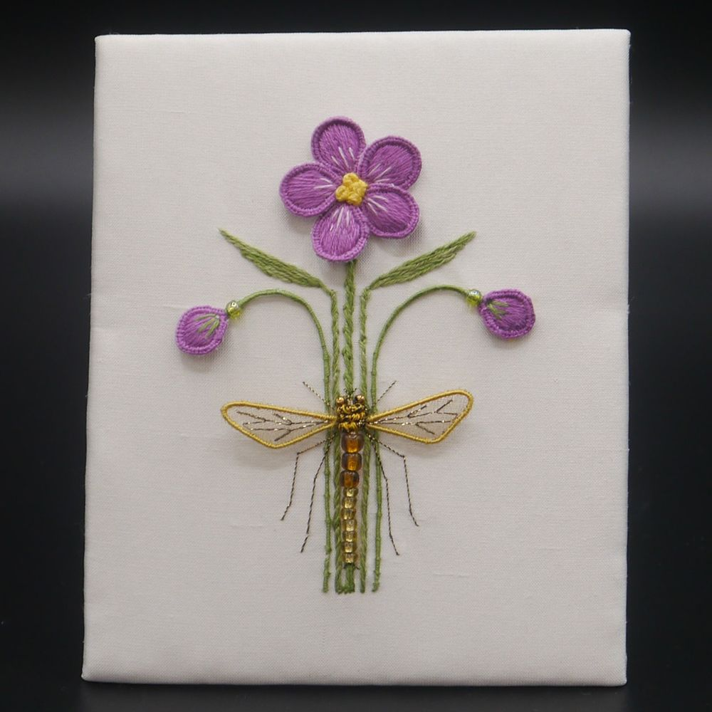 "Image Description of ""Ann Notley – unframed stump work embroidered flower and hoverfly""."