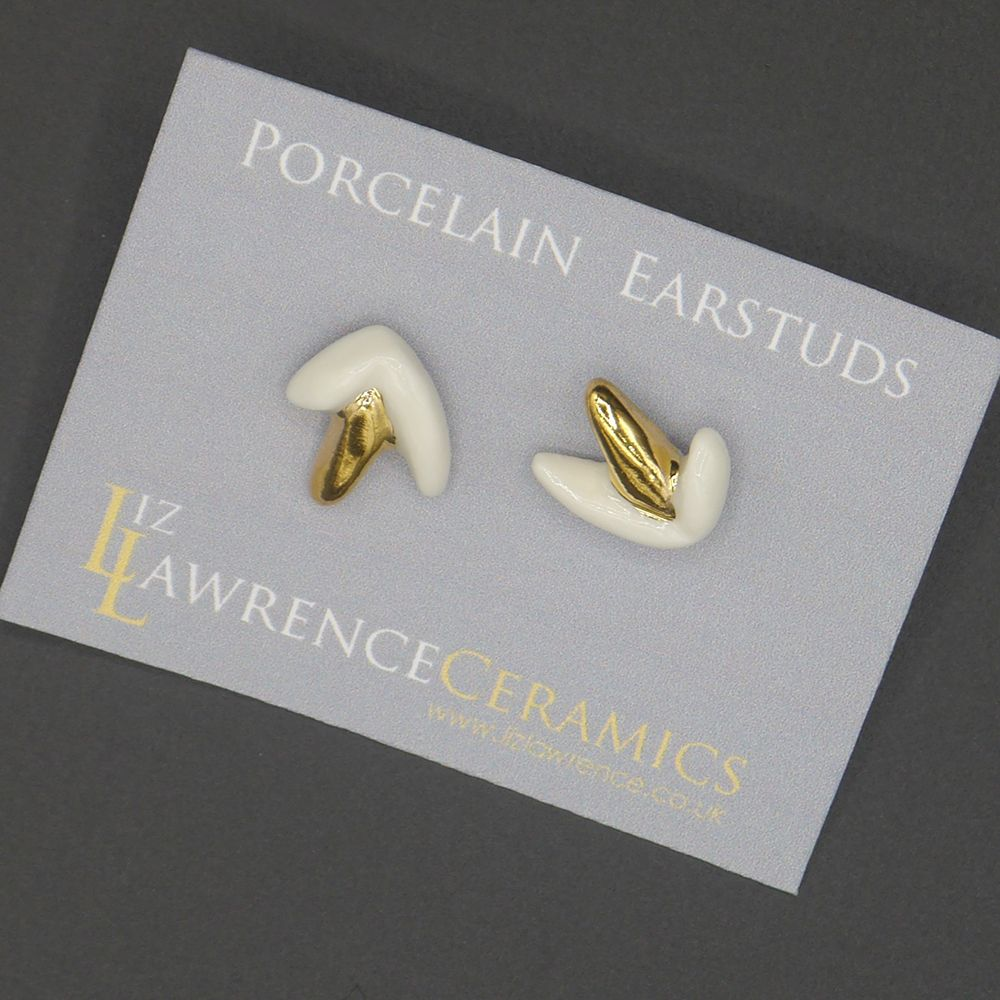 "Image Description of ""Liz Lawrence – porcelain ear studs""."