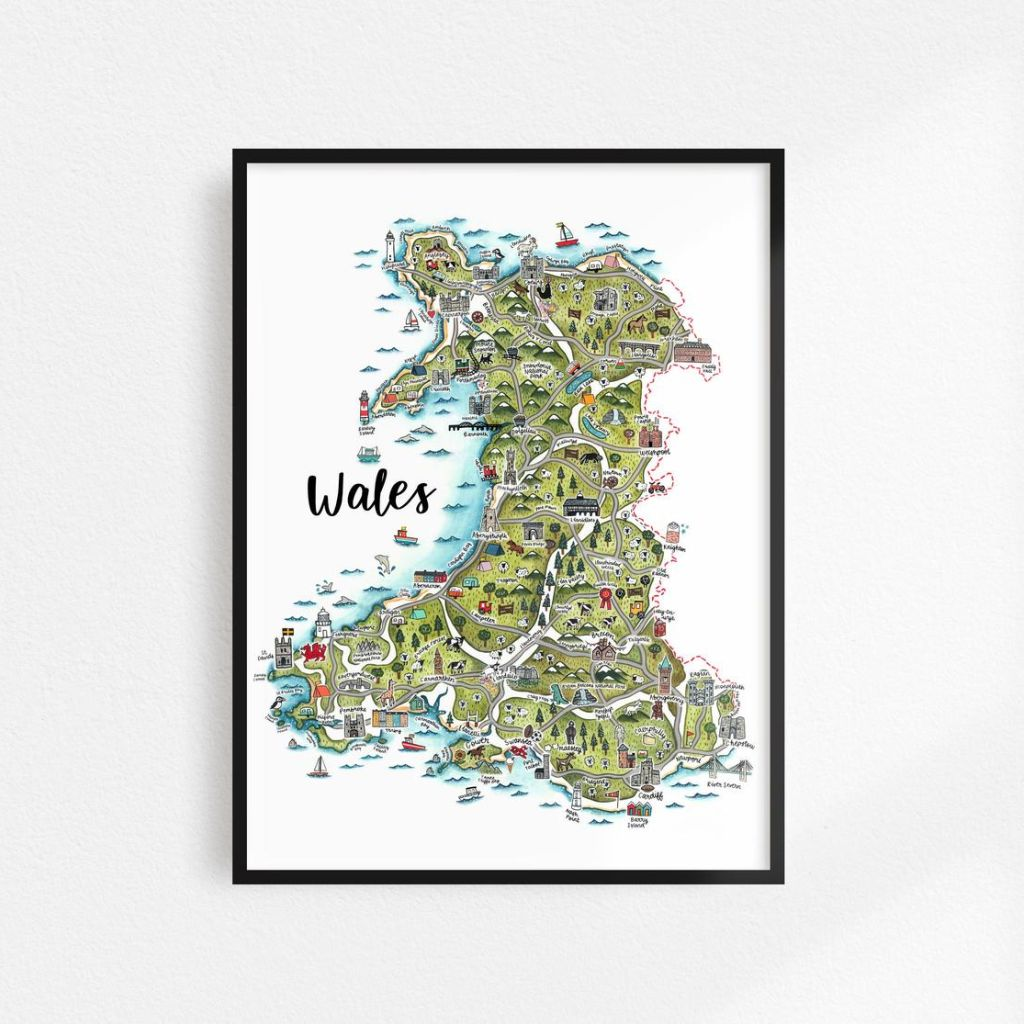 """Image Description of """"Map of Wales Print""""."""