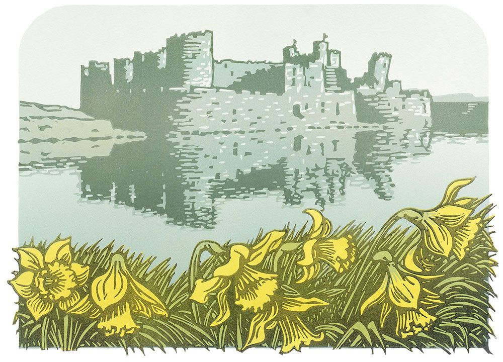 """Image Description of """"Lee Wright - 'Caerphilly Castle' card""""."""